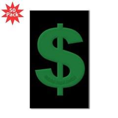 Green Dollar Sign Rectangle Sticker 50 pk)