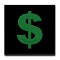 Green Dollar Sign Tile Coaster