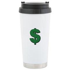 Green Dollar Sign Travel Mug
