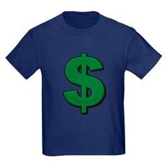 Green Dollar Sign Youth Dark T-Shirt by Hanes