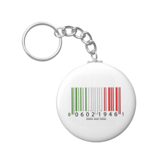 Barcode Italian Flag Basic Button Keychain
