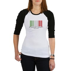 Barcode Italian Flag Junior Raglan T-shirt