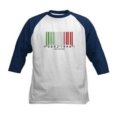 Barcode Italian Flag Kids Baseball Jersey T-Shirt