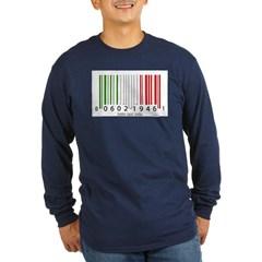 Barcode Italian Flag Long Sleeve Dark T-Shirt
