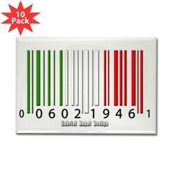 Barcode Italian Flag Rectangle Magnet (10 pack)
