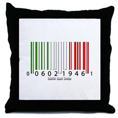 Barcode Italian Flag Throw Pillow