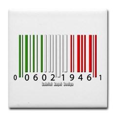 Barcode Italian Flag Tile Coaster