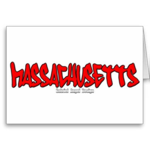 Massachusetts Graffiti Greeting Card