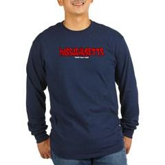 Massachusetts Graffiti Long Sleeve Dark T-Shirt