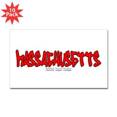 Massachusetts Graffiti Rectangle Decal 10 Pack