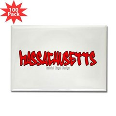 Massachusetts Graffiti Rectangle Magnet (100 pack)