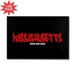 Massachusetts Graffiti Rectangle Magnet (100 pack)
