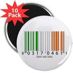 """Barcode Irish Flag 2.25"""" Magnet (10 pack)"""