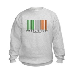 Barcode Irish Flag Kids Crewneck Sweatshirt by Hanes