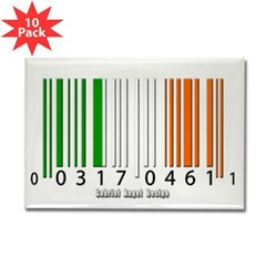 Barcode Irish Flag Rectangle Magnet (10 pack)