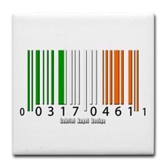 Barcode Irish Flag Tile Coaster