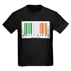 Barcode Irish Flag Youth Dark T-Shirt by Hanes