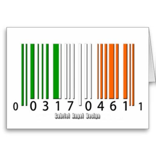 Irish  Barcode Flag Greeting Card