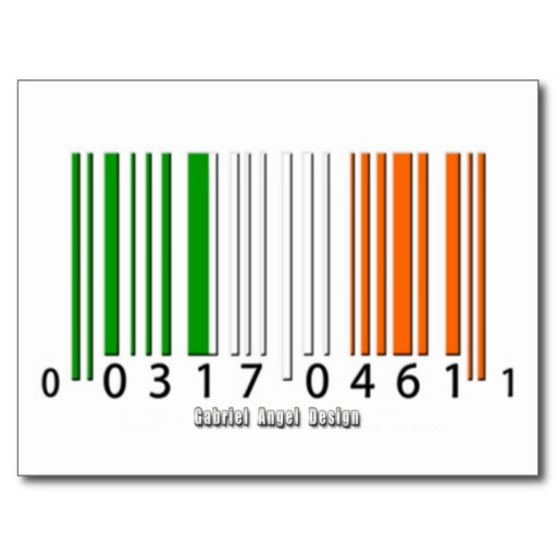 Irish  Barcode Flag Postcard