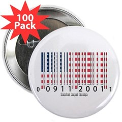 "Barcode USA Flag 2.25"" Button (100 pack)"