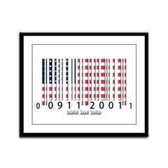 Barcode USA Flag Framed Panel Print