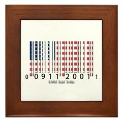 Barcode USA Flag Framed Tile