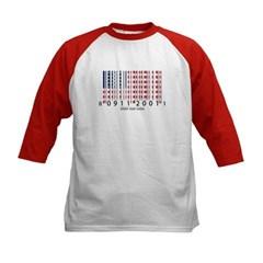 Barcode USA Flag Kids Baseball Jersey T-Shirt