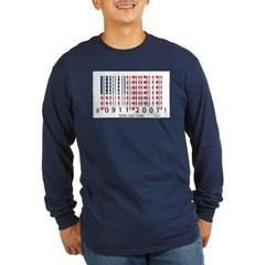 Barcode USA Flag Long Sleeve Dark T-Shirt
