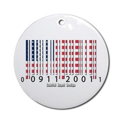 Barcode USA Flag Ornament (Round)
