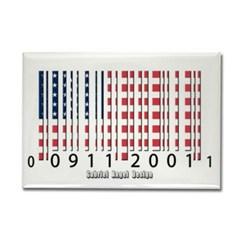 Barcode USA Flag Rectangle Magnet