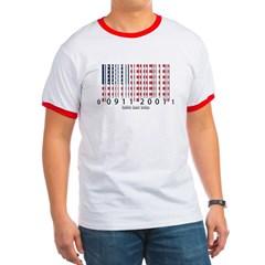 Barcode USA Flag Ringer T-Shirt