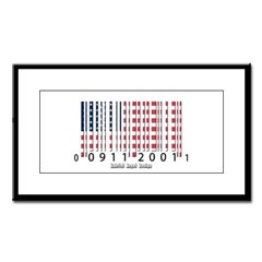 Barcode USA Flag Small Framed Print