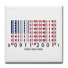 Barcode USA Flag Tile Coaster