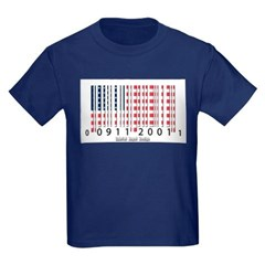 Barcode USA Flag Youth Dark T-Shirt by Hanes
