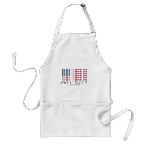 USA Barcode Flag Adult Apron