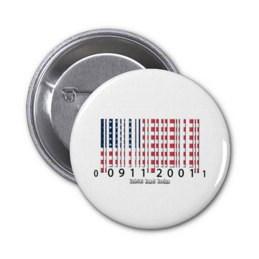 USA Barcode Flag Pinback Button