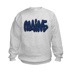 Maine Graffiti Kids Crewneck Sweatshirt by Hanes