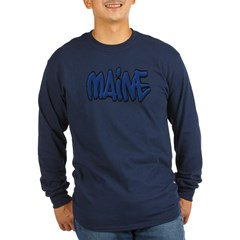 Maine Graffiti Long Sleeve Dark T-Shirt