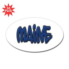 Maine Graffiti Oval Decal 50 Pack