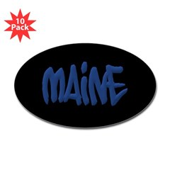 Maine Graffiti Oval Decals 10 Pack
