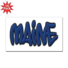Maine Graffiti Rectangle Decal 10 Pack