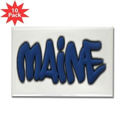 Maine Graffiti Rectangle Magnet (10 pack)