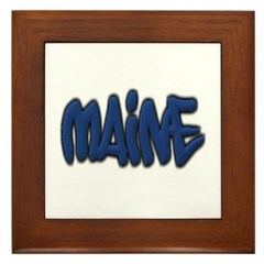 Maine in Graffiti Style Letters Framed Tile