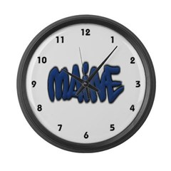 Maine in Graffiti Style Letters Large Wall Clock