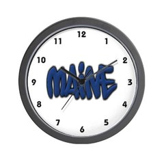 Maine in Graffiti Style Letters Wall Clock