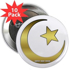 "Gold Star and Crescent 2.25"" Button (10 pack)"