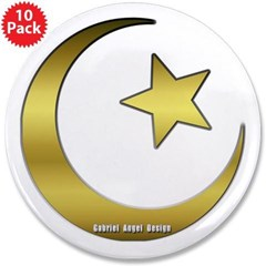 """Gold Star and Crescent 3.5"""" Button (10 pack)"""