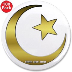 "Gold Star and Crescent 3.5"" Button (100 pack)"
