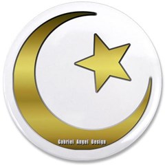 """Gold Star and Crescent 3.5"""" Button"""