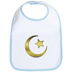 Gold Star and Crescent Baby Bib